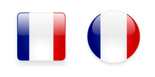 Glossy And Shiny French Flag Vector Icons