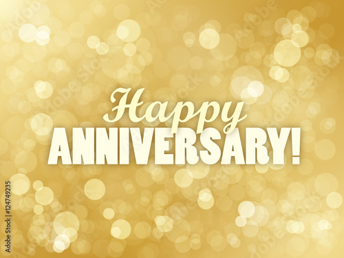 """HAPPY ANNIVERSARY"" Vector Card with Gold Bokeh Lights Background Wallpaper Mural"