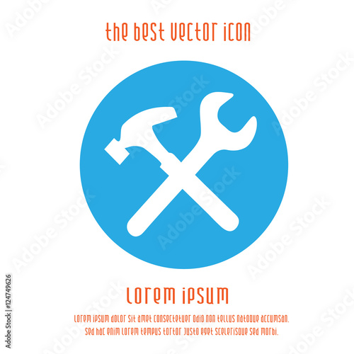 Tool Vector Icon Wrench And Hammer Symbol Vector Illustration Eps
