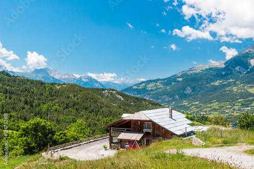 Fotobehang Landschap House in french Alps