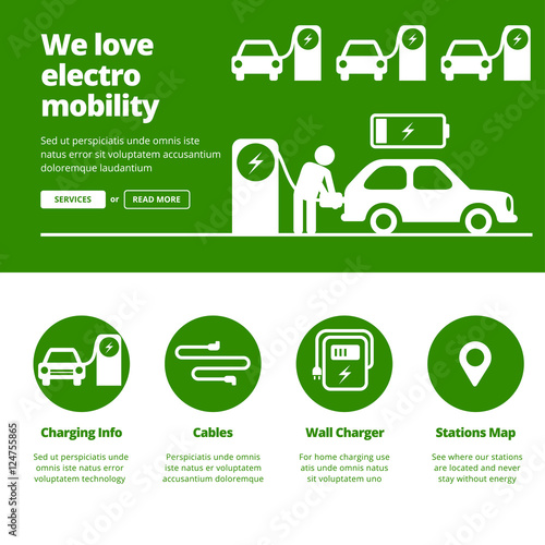 Man Charging Electric Car By Station Banners For One Page Website Design Template