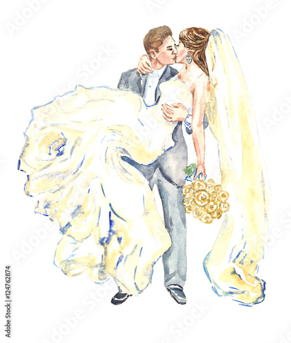 The groom holds his bride in his arms and kisses, hand painting watercolor illustration