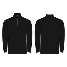 Half-Zipper Long Sleeve Black Shirt Isolated Vector On The White Background