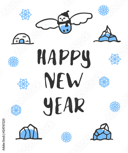 happy new year poster with lettering funny doodle snowy owl with cartoon icebergs and snowflakes