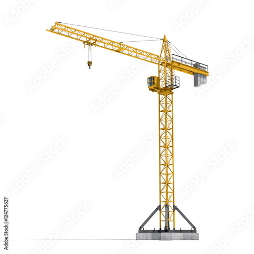 фотография Rendering of yellow tower crane full-height isolated on the white background