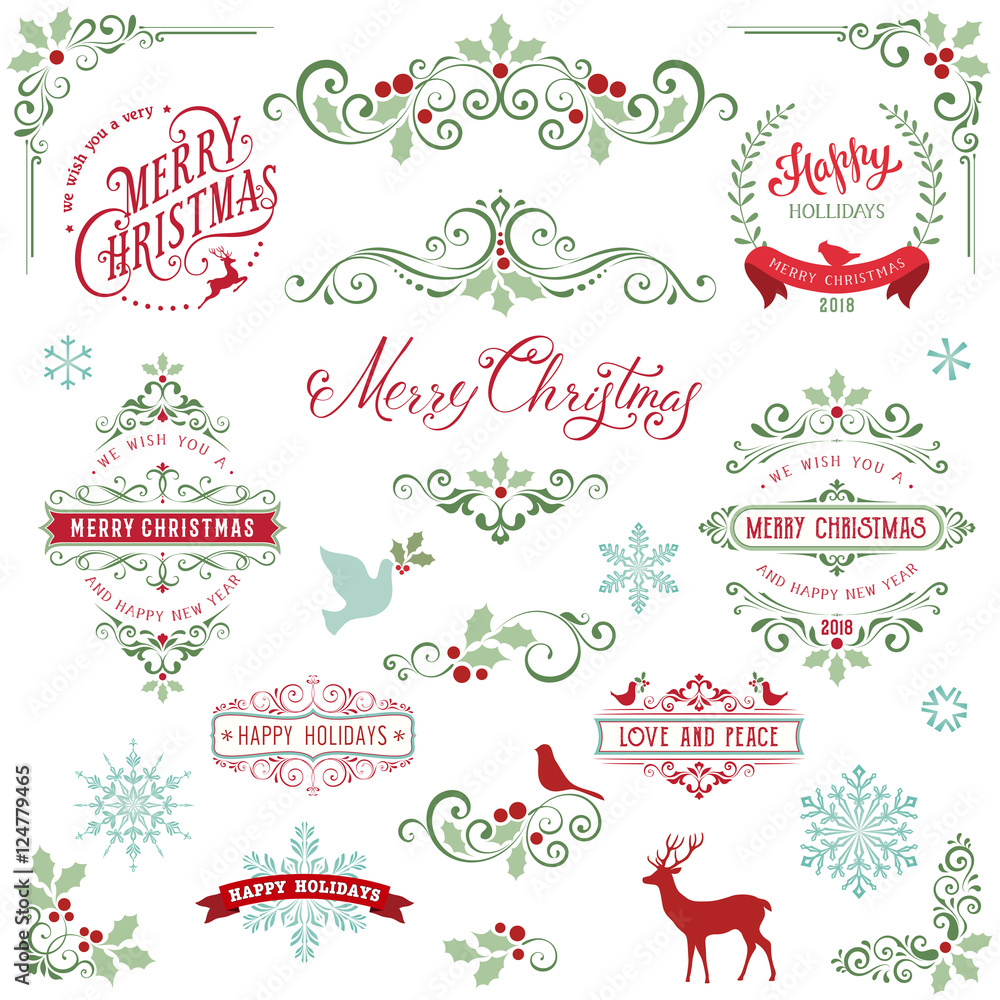 Fototapeta Ornate Christmas frames and swirl elements with Merry Christmas quotes, snowflakes, dove and bird.
