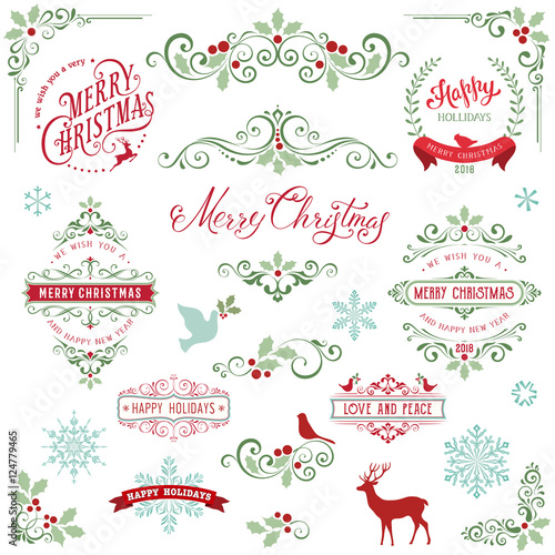 Obraz Ornate Christmas frames and swirl elements with Merry Christmas quotes, snowflakes, dove and bird. - fototapety do salonu