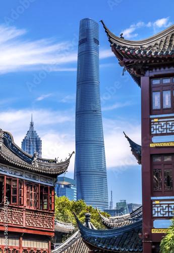 Old New Shanghai China Tower Yuyuan Garden плакат