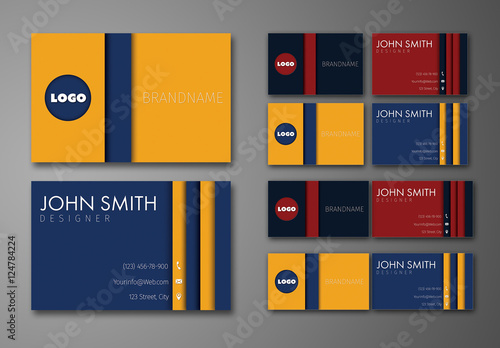 Circle and Stripe Element Business Card Layout  Buy this