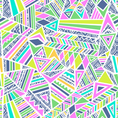 Neon bright geometric shapes - seamless background