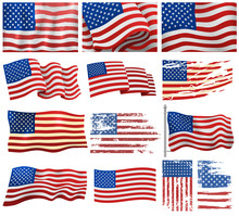 USA Flags Vector Set.