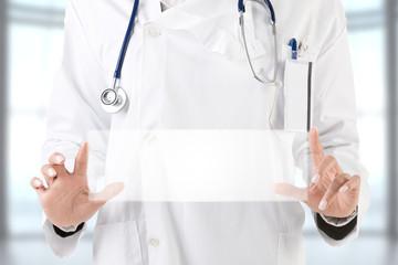 Female Doctor Holding Sign