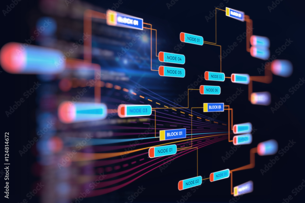 Fototapety, obrazy: Big data futuristic visualization abstract illustration