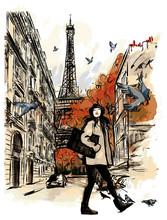 Paris In Autumn Time Near Eiffel Tower