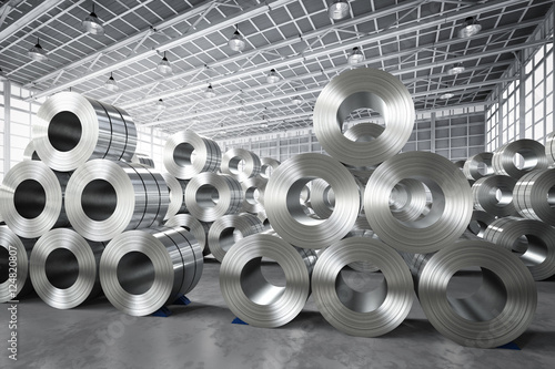 Leinwand Poster roll of steel sheet in factory