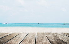 The Beach In Summer, Wooden Te...