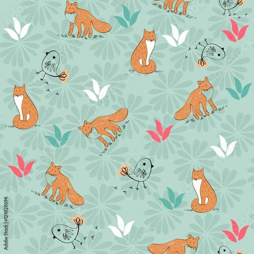 Cotton fabric cute hand drawn seamless pattern with foxes.
