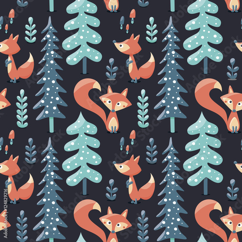Cotton fabric Seamless cute winter pattern made with foxes, trees, plants, mushrooms