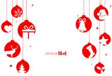 Carte Avec Boules De Noël Et Décorations