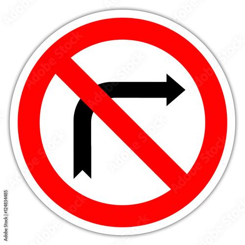 Fotografía  Panneau routier en France : interdiction de tourner à droite
