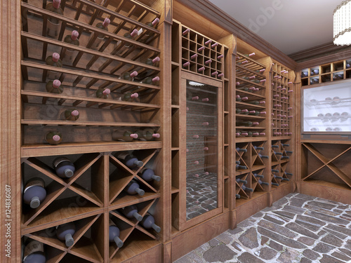 Wine cellar in the basement of the house in a rustic style. Canvas Print