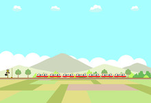 電車 田園風景
