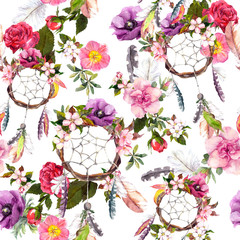 Panel Szklany Boho Dream catcher, flowers, feathers. Seamless pattern. Watercolor
