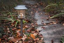 Garden Lamp Solar Powered  In Autumn