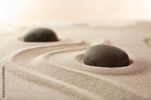 Photo sur Plexiglas Zen pierres a sable Japanese Zen garden. Pebbles on a sand