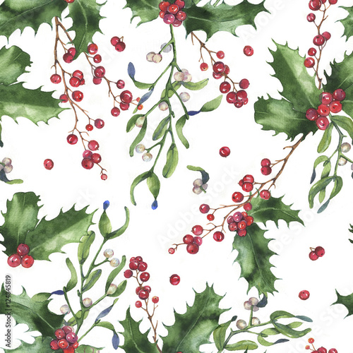Cotton fabric Hand-drawn watercolor seamless holiday pattern with different plants. Repeated decorative background: Christmas mistletoe branches, leaves, holly and berries