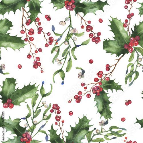 Stoffe zum Nähen Handgezeichnete Aquarell nahtlose Urlaub Muster mit verschiedenen Pflanzen. Dekorativen Hintergrund wiederholt: Weihnachten Mistel Zweige, Blätter, Holly und Beeren