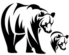 Bear Emblem Black And White Ve...