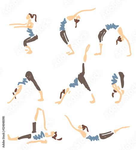 Fotografie, Obraz Set Of Sketched Yoga Poses