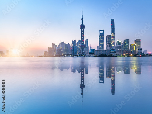 beautiful scene of the bund,shanghai,china. Wallpaper Mural