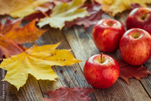 Fotografering  Red autumn apples with maple leaves on wooden table