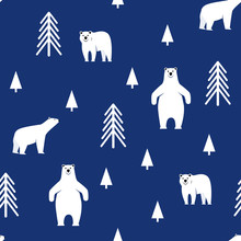Seamless Pattern. Polar Bear O...