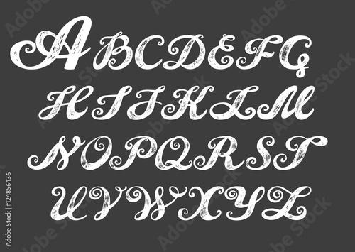 Calligraphy alphabet typeset lettering. hand drawn alphabet. capital