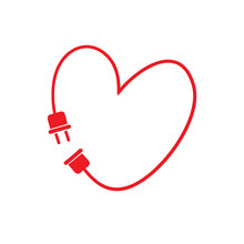 Vector Heart Made From Electric Line With Plug.