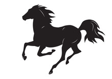 Silhouette Of Black Running Horse - Vector Illustration