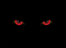Demon Eyes Red Color Vector