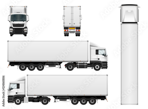 Fotografía  Vector truck trailer template isolated on white background
