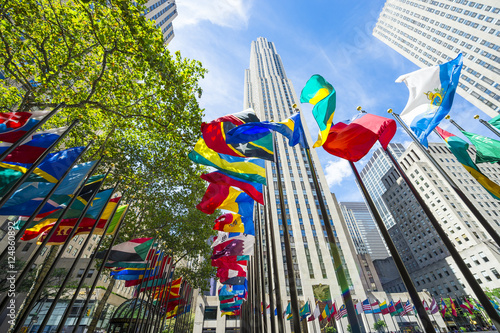 Fototapeta International flags fying in Midtown Manhattan, New York City