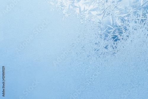 Winter background, frost on window Slika na platnu