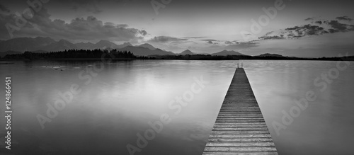 Long Wooden Pier into Lake Hopfensee in the Bavarian Alps, Black and White
