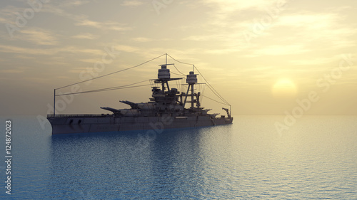 American battleship of World War II Wallpaper Mural