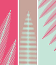 Bookmarks With Stylized Leaves Pattern In Pink And Blue
