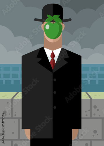Leinwand Poster Apfel surrealistischen mann malerei cartoon