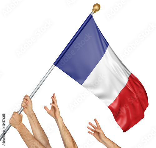Team of peoples hands raising the France national flag, 3D rendering isolated on Fototapeta