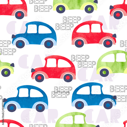 Staande foto Cartoon cars Seamless pattern with colorful watercolor cars. Vector background, suitable for kids textile, fabric, wallpaper, wrapping.