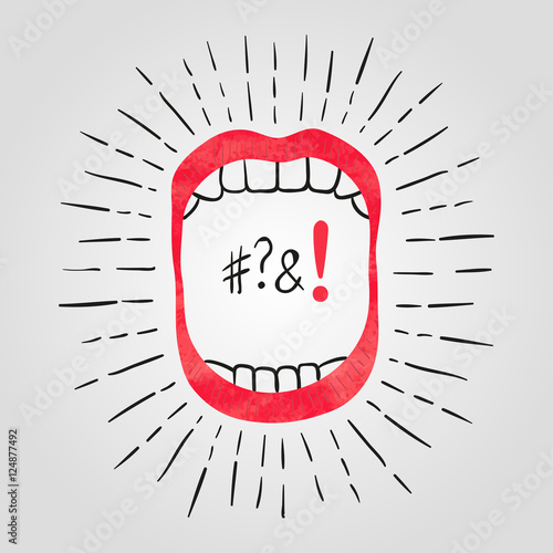 Fotografie, Obraz  Vector illustration of open mouth with teeth